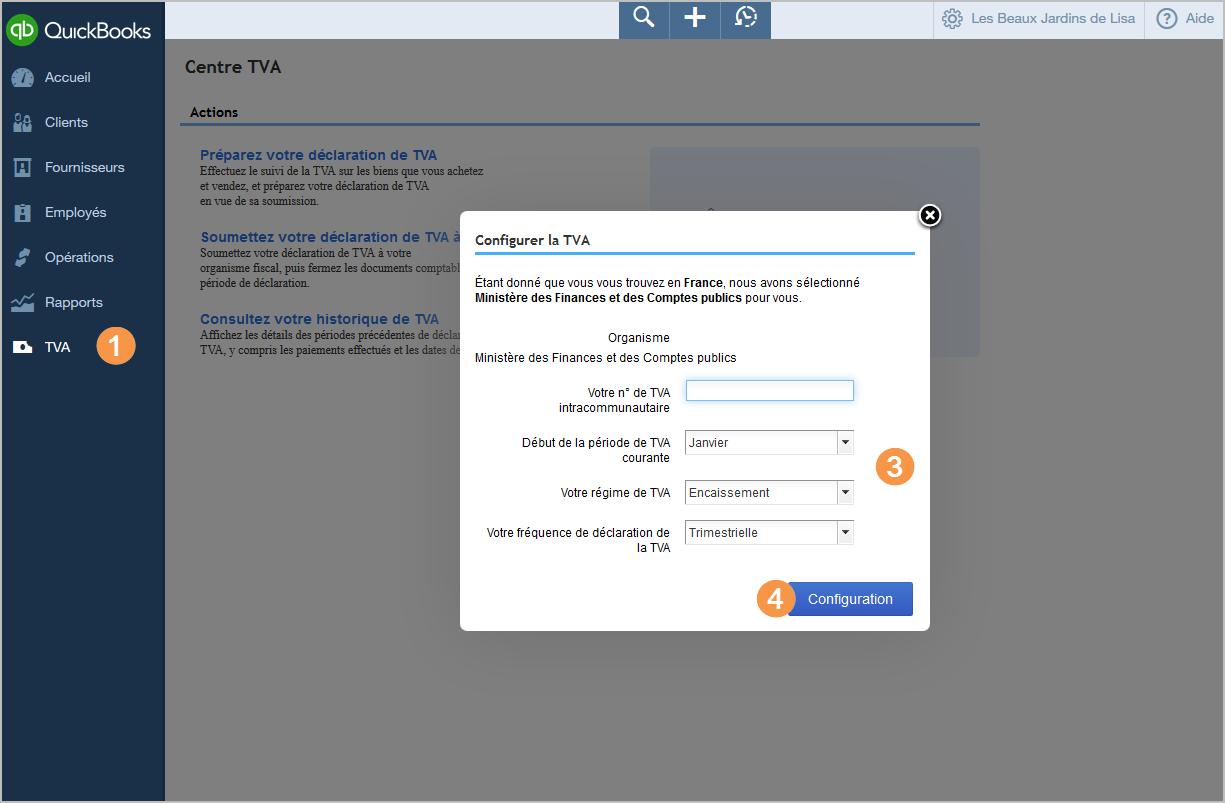 Page TVA avec fenêtre Configuration de la TVA